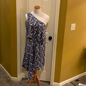 Asymmetrical Banana Republic Blue/White dress 10